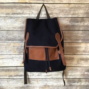 Levi's navy canvas and leather backpack